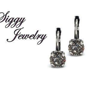 Swarovski Crystal Black Patina 8mm Drop Earrings